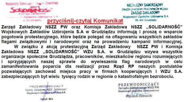 Komunikat NSZZ PW i SOLIDARNO�� WZU.S.A w Grudzi�dzu